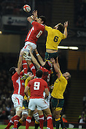 Aaron Shingler of Wales wins a line out ball ahead of Scott Higginbotham. Dove Men, autumn international test, Wales v Australia at the Millennium Stadium in Cardiff on Sat 1st Dec 2012. pic by Andrew Orchard, Andrew Orchard sports photography,