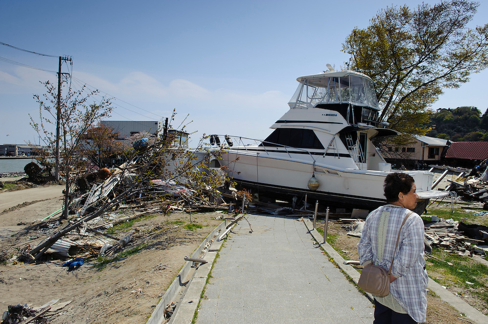 A boat blocking a path near the Mangattan Manga Museum, Ishinomaki, Miyagi Prefecture, Japan, May 5, 2011. Almost two months after the devastating earthquake and tsunami the reconstruction has barely begun.