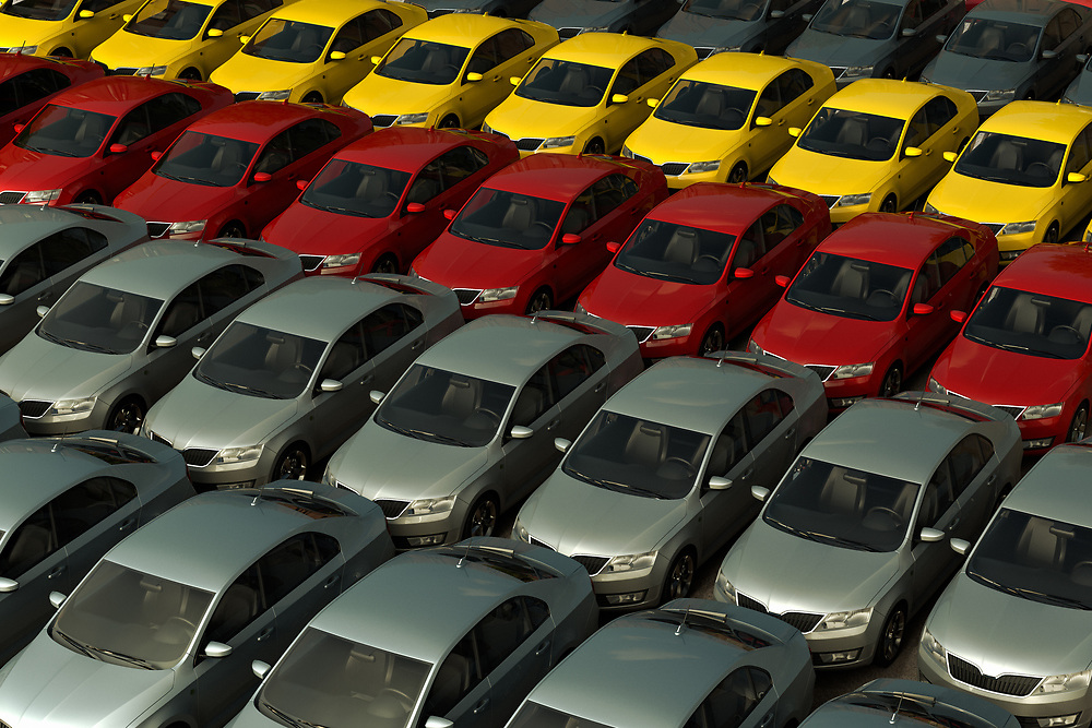 3D rendering of a stock of new cars ready to be sell.