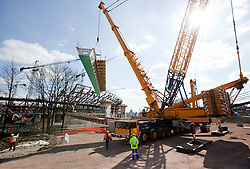Olympic Stadium. The F17 Bridge is lifted into place beside the Olympic Stadium. Picture taken by on 24th Mar 2009 by Anthony Charlton.