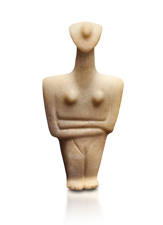 Marble female Cycladic statue figurine with folded arms. Early Cycladic Period II (2800-2300 BC) from Chalandriani, Syros. National Archaeological Museum, Athens.   White background. .<br /> <br /> If you prefer to buy from our ALAMY PHOTO LIBRARY  Collection visit : https://www.alamy.com/portfolio/paul-williams-funkystock/cycladic-art-artefacts.html Type into the LOWER SEARCH WITHIN GALLERY box to refine search by adding background colour, place, museum etc<br /> <br /> Visit our CYCLADIC CIVILISATIONS PHOTO COLLECTIONS for more photos to download or buy as wall art prints https://funkystock.photoshelter.com/gallery-collection/Cycladic-civilisation-Ancient-Greek-Artefacts-art-Photos-Pictures-Images/C0000CmevVvnC.XU