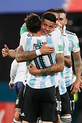June 26, 2018 - Saint Petersburg, Russia - Marcos Rojo of Argentina national team celebrates victory with Lionel Messi during the 2018 FIFA World Cup Russia group D match between Nigeria and Argentina on June 26, 2018 at Saint Petersburg Stadium in Saint Petersburg, Russia. (Credit Image: © Mike Kireev/NurPhoto via ZUMA Press)