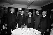 "11/05/1965<br /> 05/11/1965<br /> 11 May 1965<br /> Irish Sugar Beet Growers Association Meeting at Buswells Hotel, Dublin. Photographed at the meeting were (l-r): Mr Cornelius ""Con"" Meaney , T.D., Rathroe House, Clonbanin, Mallow, Cork; Mr P.D. Lehane, Castletreasure, Douglas, Cork,; Mr Martin J. Corry T.D., Sunville, Glounthaune, Cork; Mr George Heskin, Aglish Glencairn Co. Waterford and Mr Maurice Lawlor, Ballmacquin, Ardfert, Co. Kerry."