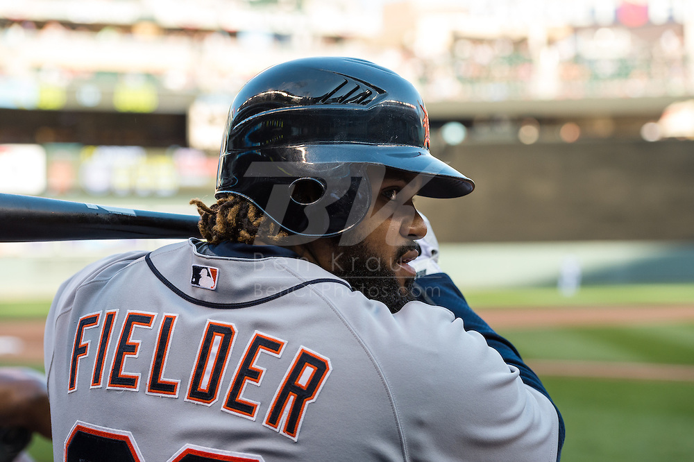 Prince Fielder #28 of the Detroit Tigers waits on-deck during a game against the Minnesota Twins on September 29, 2012 at Target Field in Minneapolis, Minnesota.  The Tigers defeated the Twins 6 to 4.  Photo: Ben Krause