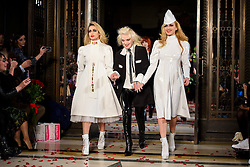 Alice Dellal, Pam Hogg and Fearne Cotton on the catwalk during the Pam Hogg Autumn/Winter 2017 London Fashion Week show at the Fashion Scout venue in Freemason's Hall, London. Picture date: Saturday February 19th, 2017. Photo credit should read: Matt Crossick/ EMPICS Entertainment.