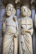 North Porch, Central Portal, right Jambs- General View c. 1194-1230. Cathedral of Chartres, France . Gothic statues of figures of, from left Isaiah and Jeremiah. A UNESCO World Heritage Site. .<br /> <br /> Visit our MEDIEVAL ART PHOTO COLLECTIONS for more   photos  to download or buy as prints https://funkystock.photoshelter.com/gallery-collection/Medieval-Middle-Ages-Art-Artefacts-Antiquities-Pictures-Images-of/C0000YpKXiAHnG2k