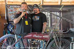 Chris Callen and Billy Lane on the Grease and Gears stage during the Cycle Source bike show at the Broken Spoke at the Iron Horse Saloon during the annual Sturgis Black Hills Motorcycle Rally.  SD, USA. Thursday August 10, 2017.  Photography ©2017 Michael Lichter.