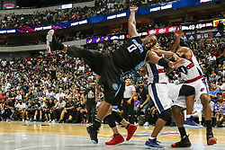August 17, 2018 - Dallas, TX, U.S. - DALLAS, TX - AUGUST 17: Power Glen Davis #0 goes up for a lay-up as Tri-State David Hawkins #34 tries to swat the ball away knocking Davis #0 to the floor during the Big 3 Basketball playoff game between the Power and the Tri-State on August 17, 2018 at the American Airlines Center in Dallas, Texas. Power defeats Tri-State 51-49. (Photo by Matthew Pearce/Icon Sportswire) (Credit Image: © Matthew Pearce/Icon SMI via ZUMA Press)