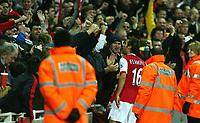 Photo: Paul Thomas.<br />Arsenal v Liverpool. The Barclays Premiership. 12/11/2006.<br /><br />Arsenal's Mathieu Flamini celebrates hi goal.