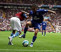 Photo: Mark Stephenson.<br /> Aston Villa v Everton. The FA Barclays Premiership. 23/09/2007.Everton's Steve Pienaar (R) holds up Villa's Ashley Young