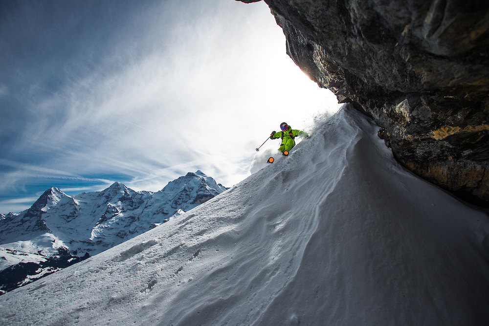 Skier: Sascha Schmid with Eiger, Mönch and Jungfrau on the backgound