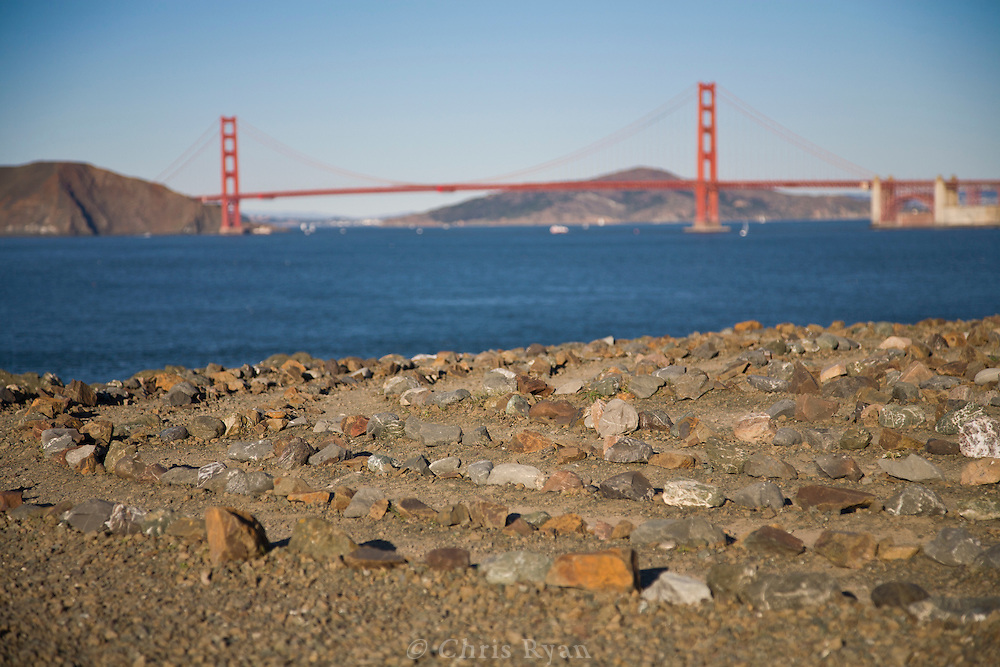 Eagles Point labrynth with view to Golden Gate Bridge, San Francisco, California