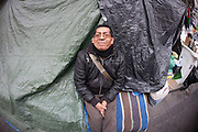 Victor, a person evicted, occupies Bankia headquarters in Madrid