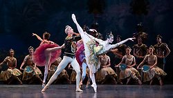 La Bayadere <br /> A ballet in three acts <br /> Choreography by Natalia Makarova <br /> After Marius Petipa <br /> The Royal Ballet <br /> At The Royal Opera House, Covent Garden, London, Great Britain <br /> General Rehearsal <br /> 30th October 2018 <br /> <br /> STRICT EMBARGO ON PICTURES UNTIL 2230HRS ON THURSDAY 1ST NOVEMBER 2018 <br /> <br /> <br /> <br /> Vadim Muntagirov as Solor <br /> A warrior <br /> <br /> Natalia Osipova as Gamzatti <br /> <br /> <br /> Photograph by Elliott Franks Royal Ballet's Live Cinema Season - La Bayadere is being screened in cinemas around the world on Tuesday 13th November 2018 <br /> --------------------------------------------------------------------