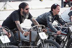 Buckcherry drummer Xavier Muriel on his Harley-Davidson racer at Billy Lane's Sons of Speed vintage motorcycle racing during Biketoberfest. Daytona Beach, FL, USA. Saturday October 21, 2017. Photography ©2017 Michael Lichter.