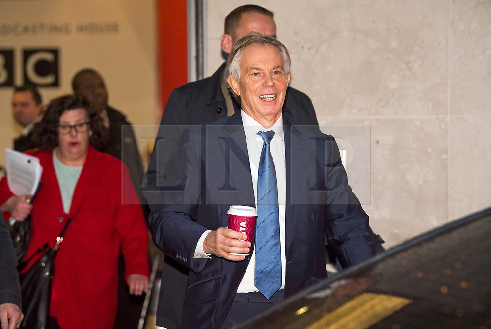 © Licensed to London News Pictures. 04/01/2018. London, UK.  Former British Prime Minister TONY BLAIR leaves BBC Broadcasting House following a Radio 4 interview. Mr Blair discussed the EU referendum and refuted claims in a new book that he shared rumours that the UK was spying on the Trump election campaign. Photo credit: Ben Cawthra/LNP