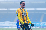 GOAL 0-1 Forward Harvey Knibbs (26) scores a goal and celebrates during the EFL Sky Bet League 2 match between Colchester United and Cambridge United at the JobServe Community Stadium, Colchester, England on 16 January 2021.