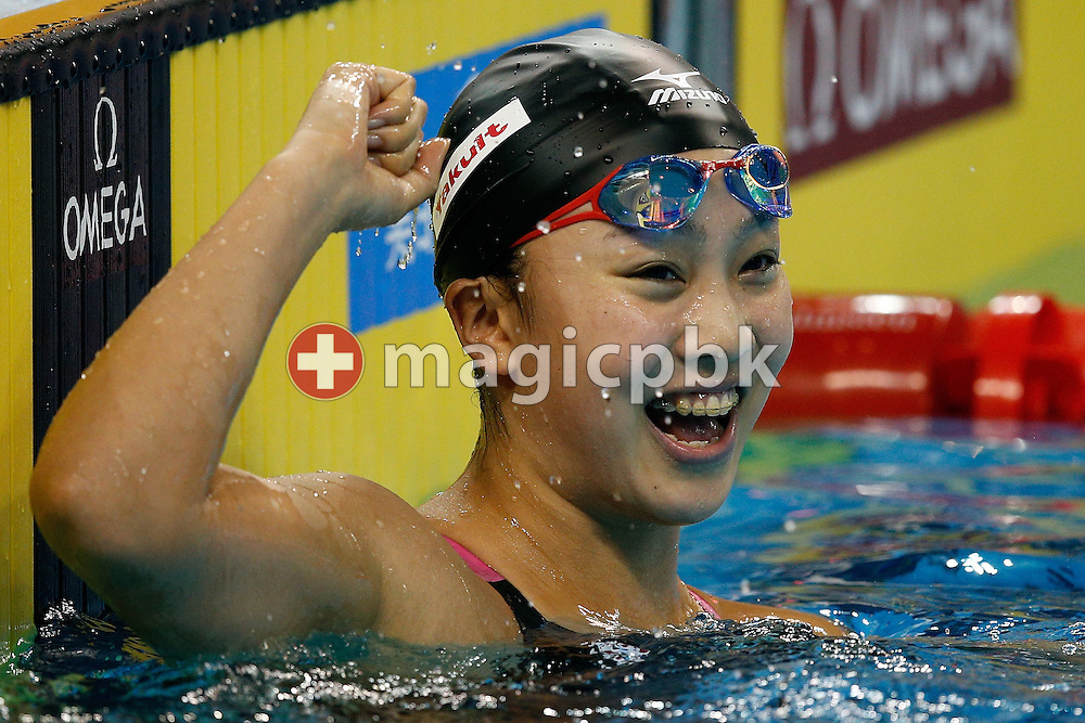 Kanako WATANABE of Japan celebrates after winning the women's 200m Breaststroke Final during the 12th Fina World Short Course Swimming Championships held at the Hamad Aquatic Centre in Doha, Qatar, Sunday, Dec. 7, 2014. (Photo by Patrick B. Kraemer / MAGICPBK)