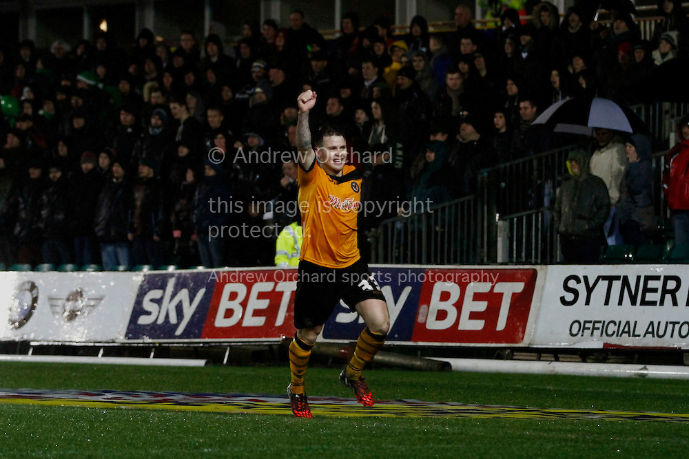 Mark Byrne of Newport County celebrates after scoring his side's second goal. Skybet football league two match, Newport County v Plymouth Argyle at Rodney Parade in Newport, South Wales on Boxing Day, Friday 26th December 2014<br /> pic by Mark Hawkins, Andrew Orchard sports photography.