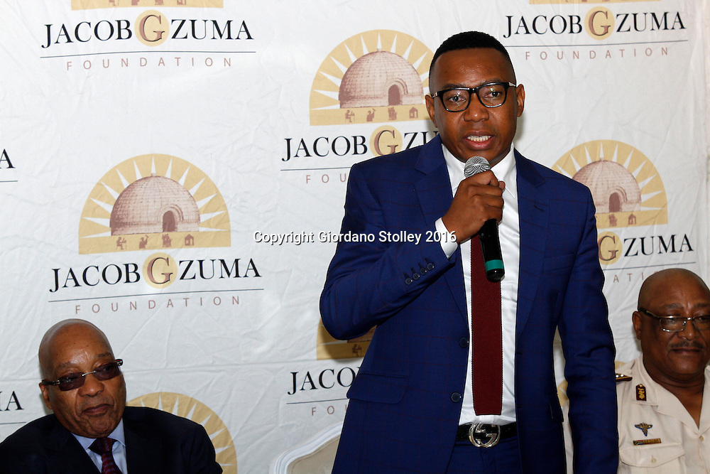 DURBAN - 15 January 2016 - South Africa's deputy minister of higher education, Mduduzi Manana speaks at a send-off dinner for a group of students being sent to the American University of Nigeria by the education foundation of South Africa's President Jacob Zuma (seated, left).  Picture: Allied Picture Press/APP