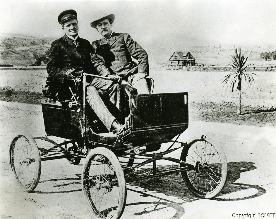 1900 General Moses Sherman and Sheriff William A Hammel pose in a Mobile Stanhope Steamer