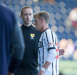 Dunfermline's Dean Shiels gets a red card after his tackle on  Falkirk's Joseph McKee. Falkirk 2 v 0 Dunfermline, Scottish Challenge Cup played 7/9/2017 at The Falkirk Stadium.