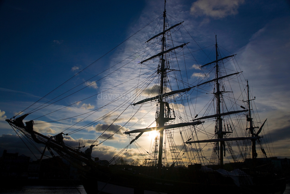 Jeanie Johnston, three masted sailing barque, a replica of the original ship was built in Quebec in 1847, and brought emigrants from Ireland to the United States during the famine period, operating from Blennerville, in Co. Kerry. The replica set sail in 2002 and is pictured here along the North Wall Quay, in Dublin city centre.