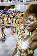 Salgueiro Samba School from the Special Group, practices their Carnival procession in the Sambadrome, Rio de Janeiro, Brazil