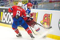 Ishockey<br /> VM 2015<br /> Russland v Norge 6:2<br /> 01.05.2015<br /> Foto: imago/Digitalsport<br /> NORWAY ONLY<br /> <br /> Sergei Mozyakin (RUS) collides with Jonas Holos (NOR).