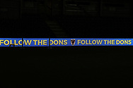Follow the Dons sign during the The FA Cup match between AFC Wimbledon and West Ham United at the Cherry Red Records Stadium, Kingston, England on 26 January 2019.