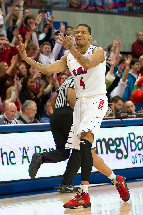 DALLAS, TX - FEBRUARY 01: Keith Frazier #4 of the SMU Mustangs celebrates after a made three-pointer against the Memphis Tigers on February 1, 2014 at Moody Coliseum in Dallas, Texas.  (Photo by Cooper Neill/Getty Images) *** Local Caption *** Keith Frazier