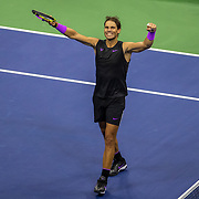 2019 US Open Tennis Tournament- Day Twelve. Rafael Nadal of Spain celebrates his victory against Matteo Berrettini of Italy in the Men's Singles Semi-Finals match on Arthur Ashe Stadium during the 2019 US Open Tennis Tournament at the USTA Billie Jean King National Tennis Center on September 6th, 2019 in Flushing, Queens, New York City.  (Photo by Tim Clayton/Corbis via Getty Images)