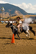 Cowgirl, Cowboy Mounted Shooting, Bozeman Montana, Paint Horse