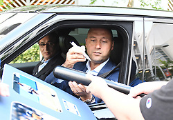 EXCLUSIVE: Yankees' iconic former captain Derek Jeter attends a press conference to announce that he is now officially the CEO of the Miami Marlins. Jeter was wearing a blue suit as he stopped his car to sign autographs after the event, and seated beside him was Marlins' principle owner Bruce Sherman. His wife, Hannah Jeter, who also attended the news conference, was seen arriving back to their hotel in a black dress. The Sports Illustrated cover model gave birth to the couple's first daughter, Bella Raine, less than two months ago. Later, The trio was seen heading out to a celebratory dinner at Komodo Restaurant, where they dined in a private space away from onlookers. Hannah changed into a silky white blouse and skin tight jeans while Derek opted to stay in the blue suit he wore earlier in the day. Derek held the door for hannah as they entered the eatery, and the happy couple held hands as they left later. 03 Oct 2017 Pictured: Derek Jeter; Bruce Sherman. Photo credit: MEGA TheMegaAgency.com +1 888 505 6342