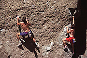 Bouldering below Dead Man's Summit, on Route 395, Eastern Sierra Nevada Mountains of California.