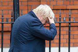 © Licensed to London News Pictures. 19/07/2018. London, UK. Boris Johnson leaves the official residence of the Foreign Secretary the morning after delivering his first speech in parliament since resigning from the government. Photo credit: Rob Pinney/LNP
