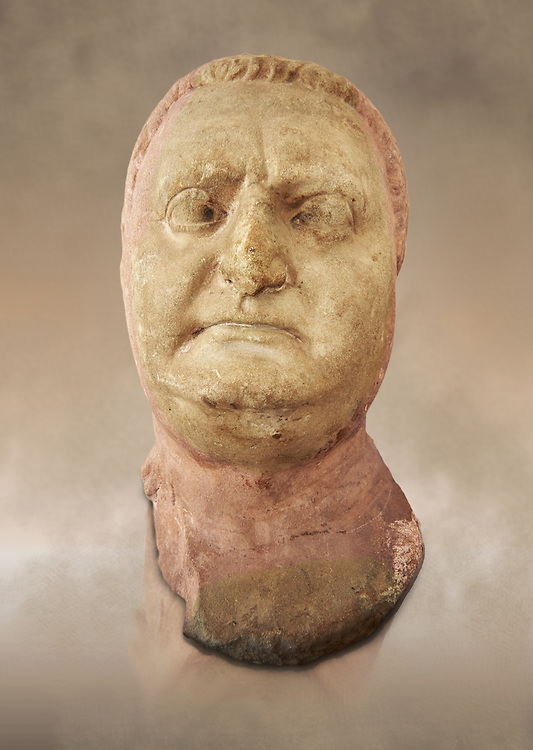Roman sculpture of the Emperor Vitellius, excavated  from Althiburos sculpted circa 20 April 69-20 Dec 69AD. The Bardo National Museum, Tunis, Inv No: C.1784 .<br /> <br /> If you prefer to buy from our ALAMY STOCK LIBRARY page at https://www.alamy.com/portfolio/paul-williams-funkystock/greco-roman-sculptures.html . Type -    BARDO    - into LOWER SEARCH WITHIN GALLERY box - Refine search by adding a subject, place, background colour, museum etc.<br /> <br /> Visit our CLASSICAL WORLD HISTORIC SITES PHOTO COLLECTIONS for more photos to download or buy as wall art prints https://funkystock.photoshelter.com/gallery-collection/The-Romans-Art-Artefacts-Antiquities-Historic-Sites-Pictures-Images/C0000r2uLJJo9_s0c
