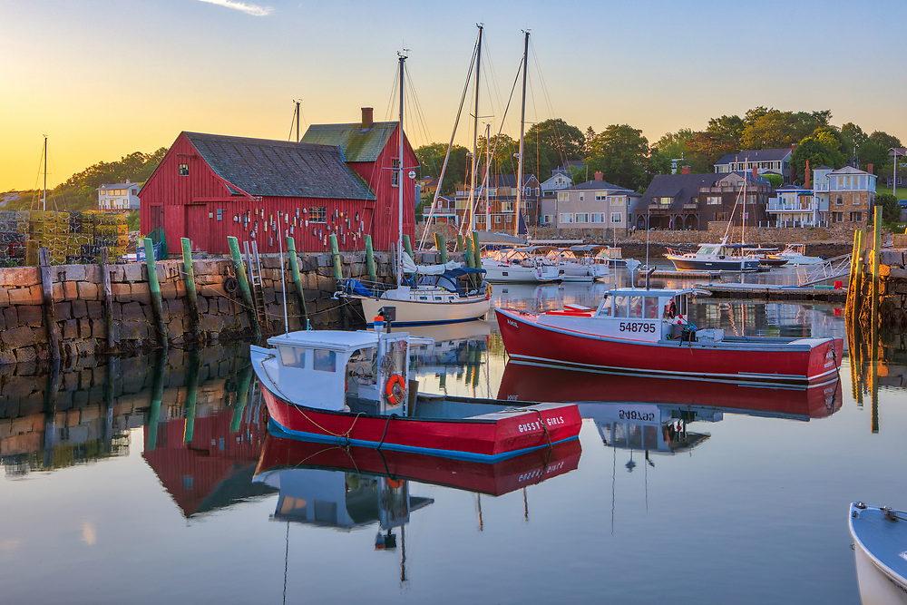 New England harbor scenery of Motif #1 and its harbor fishing boats in the sunrise hours at Rockport Harbor on Cape Ann, Massachusetts.<br /> <br /> Inspiring Cape Ann sunrise photography photos of Motif #1 are available as museum quality photography prints, canvas prints, acrylic prints, wood prints or metal prints. Fine art prints may be framed and matted to the individual liking and interior design decorating needs.<br /> <br /> Good light and happy photo making!<br /> <br /> My best,<br /> <br /> Juergen
