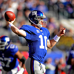 Quarterback Eli Manning #10 of the New York Giants passes from the pocket during NFL football action between the New York Giants and Jacksonville Jaguars on Nov. 28, 2010 at MetLife Stadium in East Rutherford, N.J.