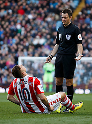Referee Mark Clattenberg dismisses an appeal for a foul from Stoke Forward Marko Arnautovic (AUT) - Photo mandatory by-line: Rogan Thomson/JMP - 07966 386802 - 23/03/2014 - SPORT - FOOTBALL - Villa Park, Birmingham - Aston Villa v Stoke City - Barclays Premier League.
