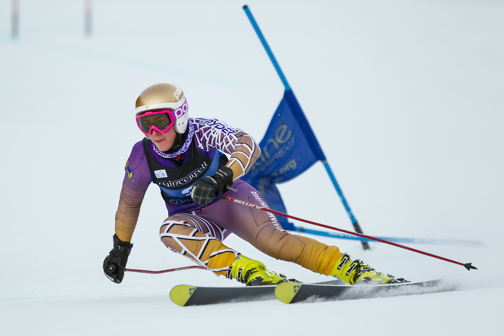 Shannon Campbell of Williams College, skis during the second run of the women's giant slalom at the University of New Hampshire Carnival at Attitash Mountain on January 24, 2014 in Bartlett, NH. (Dustin Satloff/EISA)