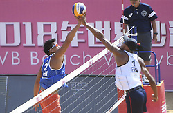 QINZHOU, Oct. 2, 2018  Li Yang (L) of China competes against Quincy Aye of France during the men's Pool A match between Gao Peng/Li Yang of China and Quincy Aye/Arnaud Gauthier-Rat of France at the FIVB Beach Volleyball World Tour in Qinzhou, south China's Guangxi Zhuang Autonomous Region, Oct. 2, 2018. France won 2-0. (Credit Image: © Zhang Ailin/Xinhua via ZUMA Wire)