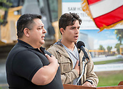 Jesus Perales recites the pledge during a groundbreaking ceremony for new Sam Houston Math, Science and Technology Center School, March 24, 2017.