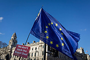 A pro-EU Brexit protest flag opposite the UK Treasury in Parliament Square, Westminster, on 28th January 2019, in London, England.
