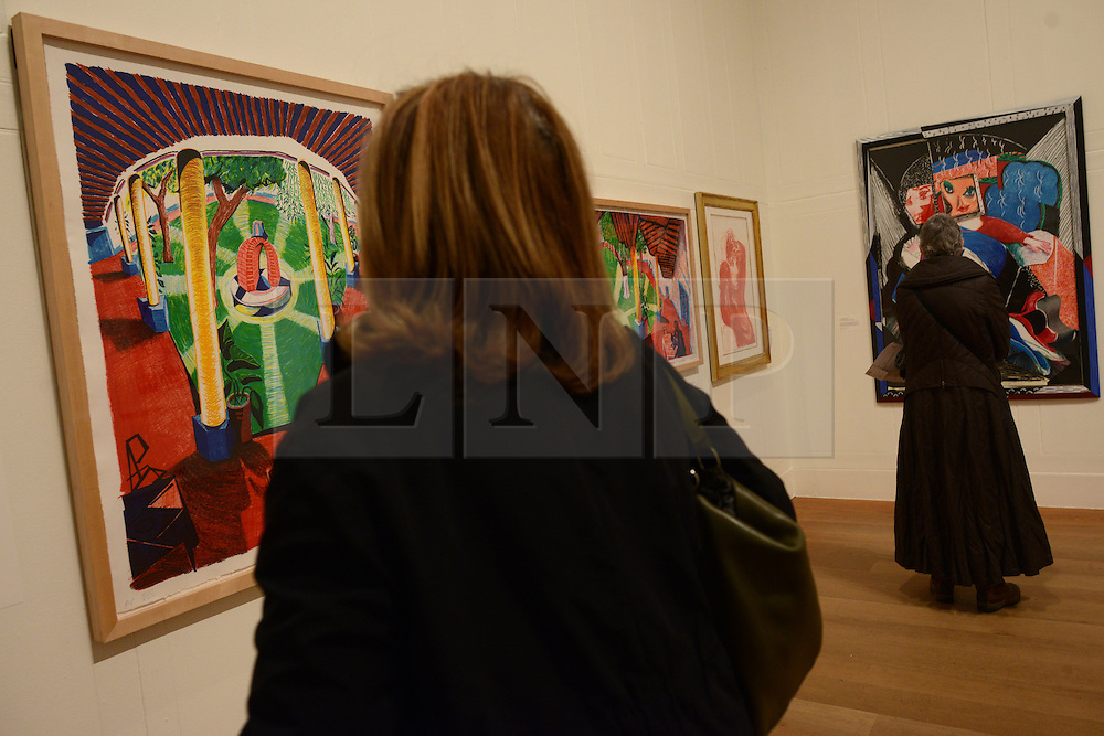 © Licensed to London News Pictures.04/02/2014. London, UK. Visitors look at David Hockney's artwork during a press view of the 'Hockney, Printmaker' exhibition in Dulwich Picture Gallery.The gallery celebrates 60 years of the British artist David Hockney's printmaking. Photo credit : Peter Kollanyi/LNP