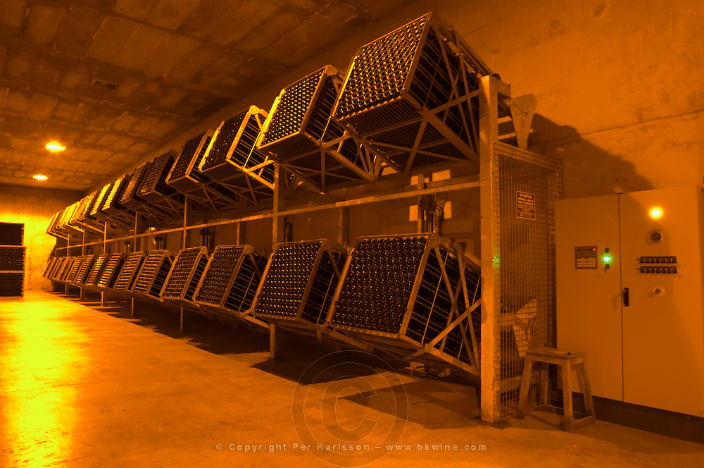Rows of giropalettes that automatically perform the remuage (riddling of the bottles) Champagne Duval Leroy, Vertus, Cotes des Blancs, Champagne, Marne, Ardennes, France