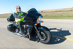 SD Patriot Guard Rider Dale Thomsen if Brandon, SD (US Navy) riding his 2015 Kawasaki Vaquero on the USS South Dakota submarine flag relay across South Dakota on the first day from Sturgis to Aberdeen. SD. USA. Saturday October 7, 2017. Photography ©2017 Michael Lichter.