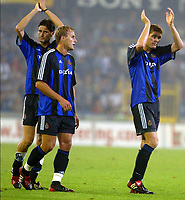 Fotball<br /> Kvalifisering til UEFA Champions League<br /> 13.08.2003<br /> Brügge / Brugge v Borussia Dortmund<br /> Bengt Sæternes - Sandy Martens - Gert Verheyen - Brugge<br /> Foto: Digitalsport
