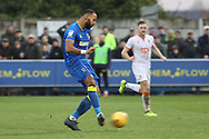AFC Wimbledon midfielder Liam Trotter (14) scoring goal to make it 1-0 during the EFL Sky Bet League 1 match between AFC Wimbledon and Blackpool at the Cherry Red Records Stadium, Kingston, England on 20 January 2018. Photo by Matthew Redman.