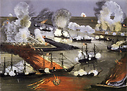 American Civil War 1861-1865: The Capture of New Orleans 25 April to 1 May  1862. The capture of the largest Confederate city by the Union was a turning point in the war. Naval Battle Fire Gunfire Explosion Steam Ship